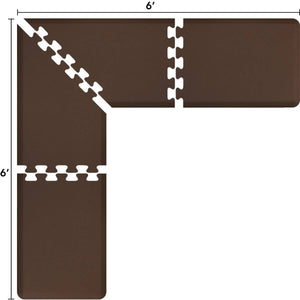 WellnessMats Puzzle L Series 6'X6'X2',LS2WMP66BRN,Brown