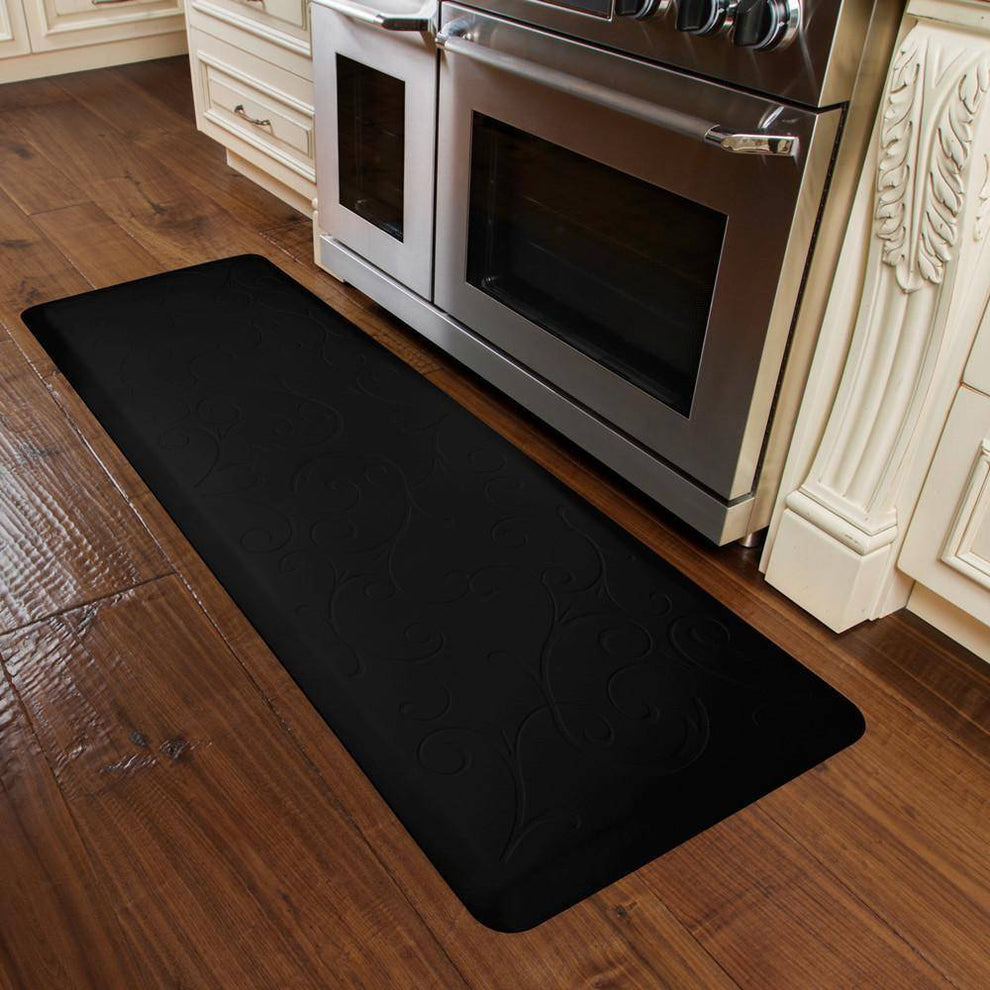 WellnessMats Bella Motif 6' X 2' MB62WMRBLK, Black