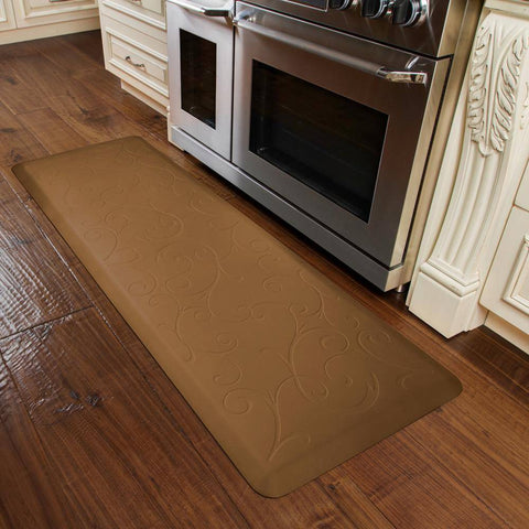 Image of WellnessMats Bella Motif 6' X 2' MB62WMRTAN, Tan