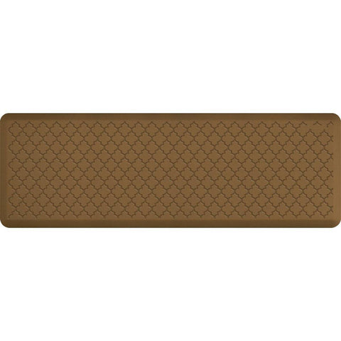 Image of WellnessMats Trellis Motif 6' X 2' MT62WMRTAN, Tan