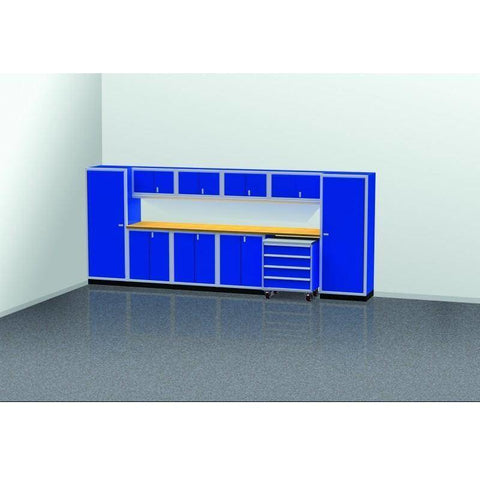 Image of Moduline Garage PRO II Cabinet Combo 11 Piece 16 Foot Wide #PGC016-04X - Garage Tools Storage