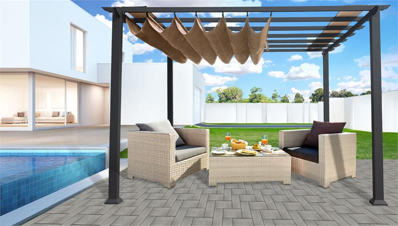 Paragon Pergola 11' x 11' with Grey Frame and Cocoa Canopy PR11GRYC