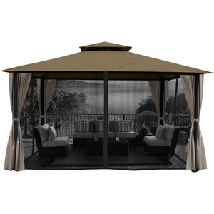 Paragon Sedona Gazebo Sand Top w curtains & Mosquito Netting GZT584K2