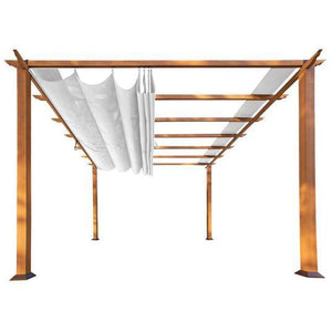 Paragon Aluminum Pergola Wood Grain Finish/White Canopy PR11WD1W