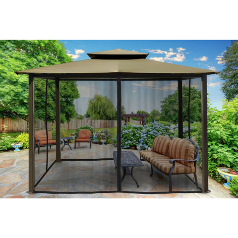 Image of Paragon Barcelona Gazebo w/ Sand Roof & Mosquito Netting GZ584ESK