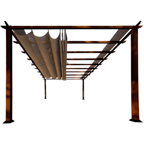 Image of Paragon Florence Aluminum Pergola Chilean Wood Look Cocoa Top PR16WD2C