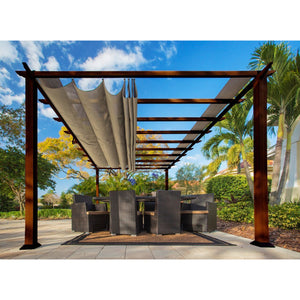 Paragon Florence Aluminum Pergola W/ Chilean Wood & Sand Color Top PR16WD2S