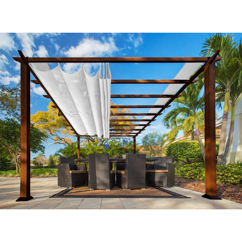 Paragon Florence Aluminum Pergola Chilean Wood & White Top PR16WD2W