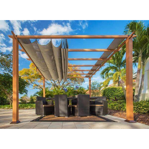 Paragon Aluminum Pergola Wood Grain Finish Sand Color Top PR11WD1S