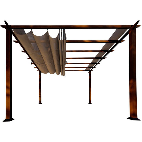 Image of Paragon Florence Aluminum Pergola Chilean Wood Look Cocoa Top PR11WD2C