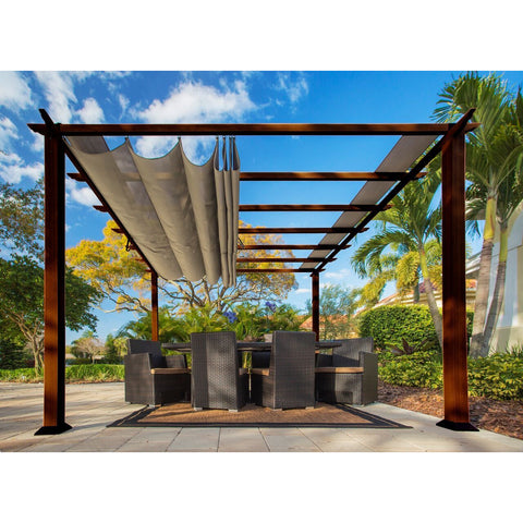 Paragon Florence Aluminum Pergola Chilean Wood Grain Finish&Sand Color Top