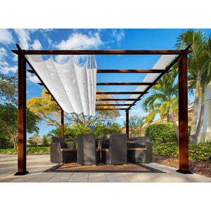 Paragon Florence Aluminum Pergola Chilean Wood Look White Top PR11WD2W