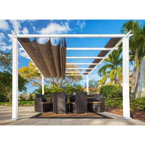 Image of Paragon Florence White Aluminum Pergola Sand Color Convt Top PR11WTS