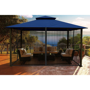 Paragon Kingsbury Gazebo with Navy Top and Mosquito Netting GZ584NNK