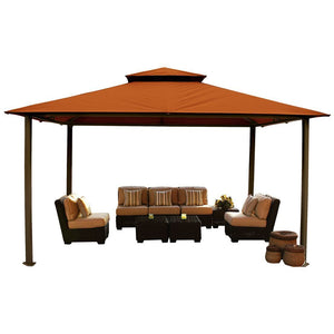 Paragon Kingsbury Gazebo with Rust Color Sunbrella Top and Mosquito Netting