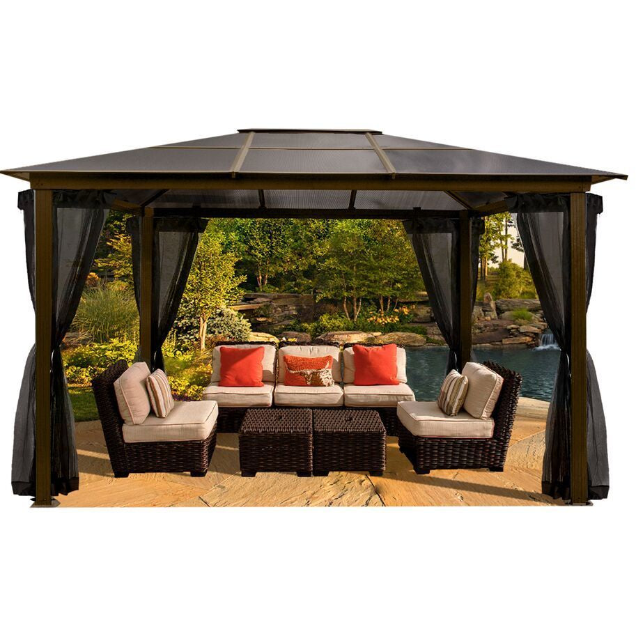 Paragon Madrid 10' x 13' Hard Top Gazebo with Mosquito Netting GZ620LSK