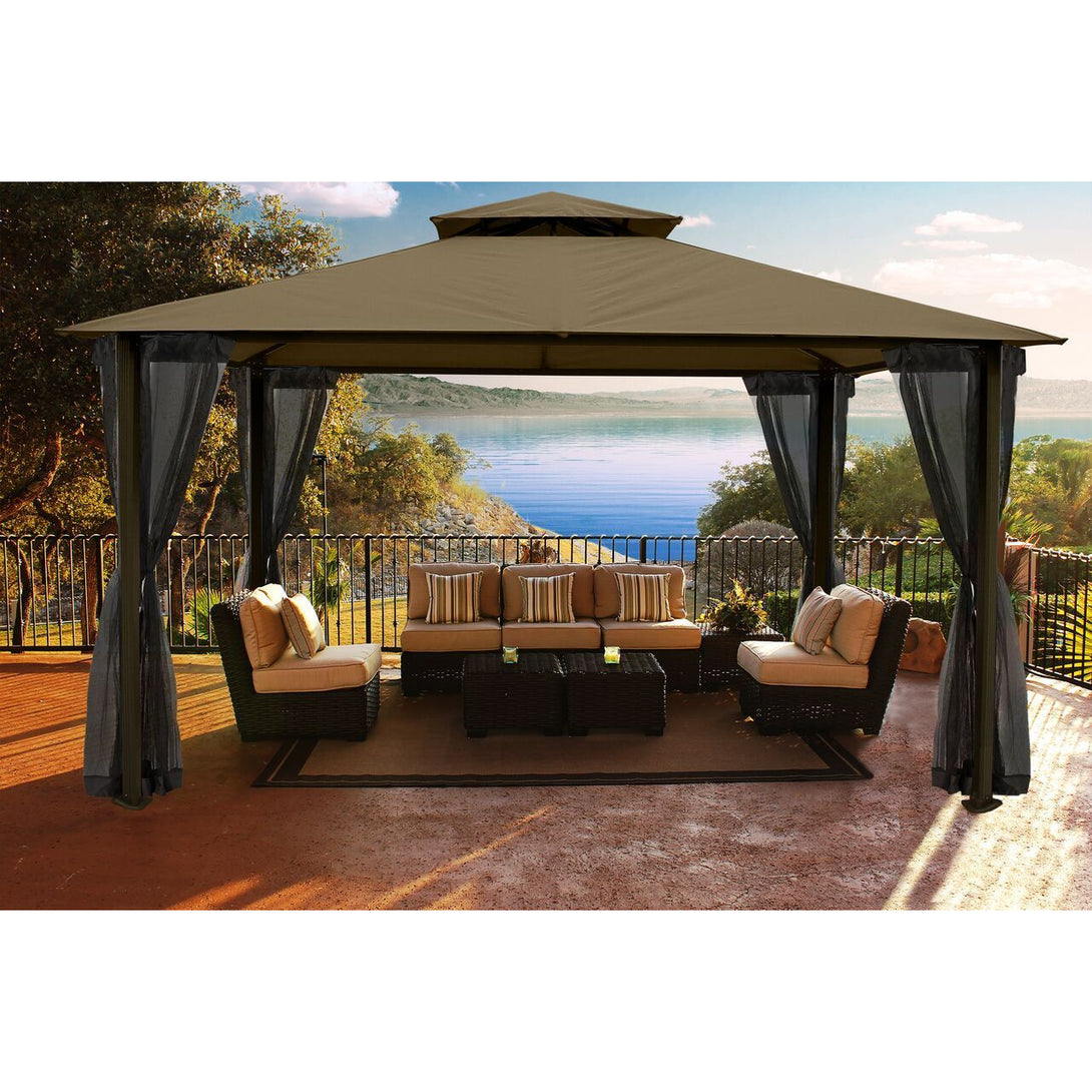 Paragon Santa Cruz Gazebo Cocoa Sunbrella Top Privacy Curtains Mosquito Netting