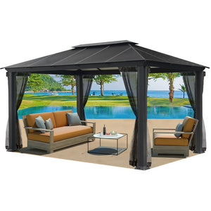 Paragon Santa Monica 11'x16' Hard Top Gazebo W/Mosquito Netting GZ3XLK