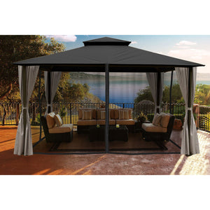 Paragon Sedona Gazebo Grey Color Roof Privacy Curtains Mosquito Netting