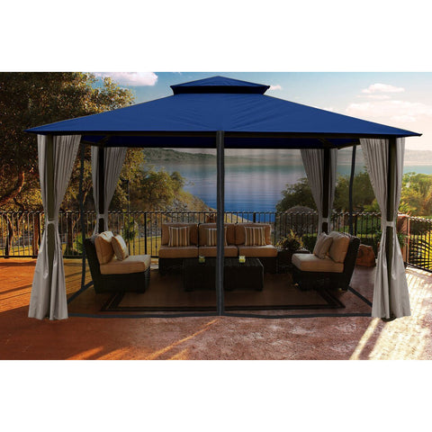 Paragon Sedona Gazebo Navy Color Roof Privacy Curtains Mosquito Netting
