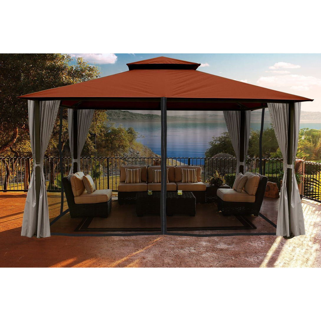 Paragon Sedona Gazebo Rust Color Roof Privacy Curtains Mosquito Netting