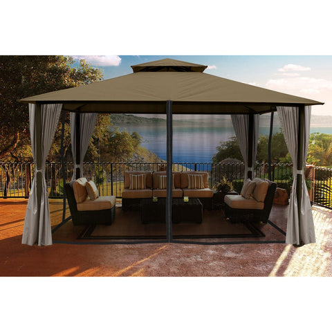 Paragon Sedona Gazebo Sand Color Roof Privacy Curtains Mosquito Netting