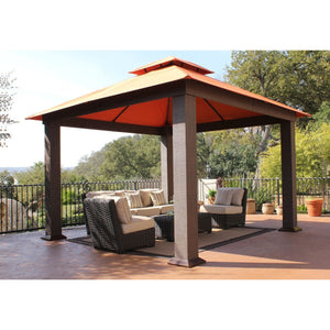 Paragon Seville Gazebo w/ Rust Top & Curtains w/ Mosquito Nets GZ734R