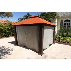 Paragon Seville Gazebo Rust Top Curtains & Mosquito Netting GZ734RK