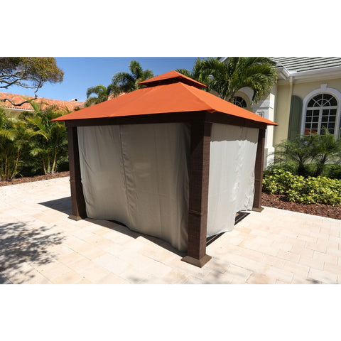 Paragon Seville Gazebo Rust Top & Privacy Curtains & Mosquito Netting