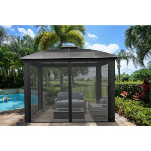 Paragon Siena 12' x 12' Hard Top Gazebo with Sliding Screen