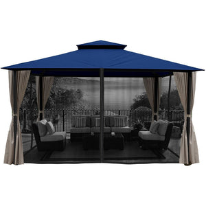 Paragon Sedona Gazebo Navy Roof w/ Curtains Mosquito Netting GZ584NNK2