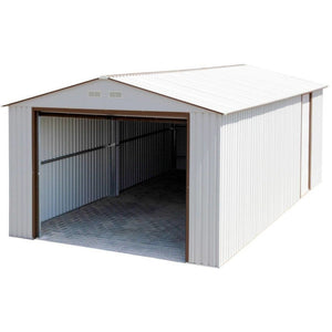 Duramax 12' x 26' Imperial Metal Garage Off White Brown 55131 - Garage Tools Storage
