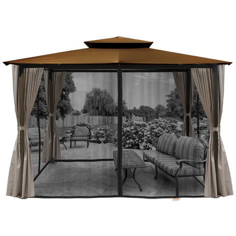 Image of Paragon Barcelona Gazebo w/ Cocoa Top Curtains & Mosquito Net GZ584ECK2