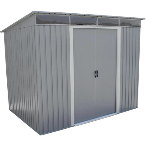 Image of Duramax 8' x 6' Pent Roof with Skylight Light Gray 50371 - Garage Tools Storage