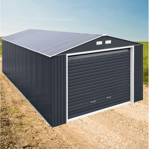 Image of Duramax 12'x20' Imperial Metal Garage Dark Gray w/ White Trim 50951 - Garage Tools Storage