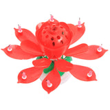 Beautiful Birthday Rotating Music Lotus Flower Candle Red
