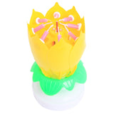 Beautiful Birthday Rotating Music Lotus Flower Candle