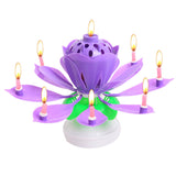 Beautiful Birthday Rotating Music Lotus Flower Candle Purple