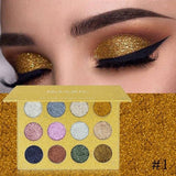 Buy 12 Color Pressed Glitter Eye-shadow Palette