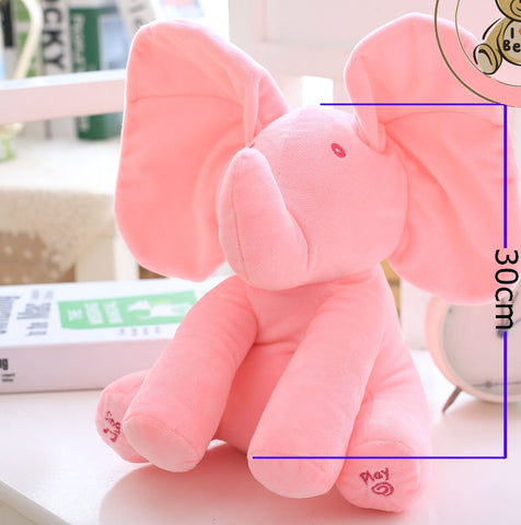 Electric Peek A Boo Plush Elephant Toy