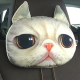 3D Dog Cat Printed Headrest Car Cushion