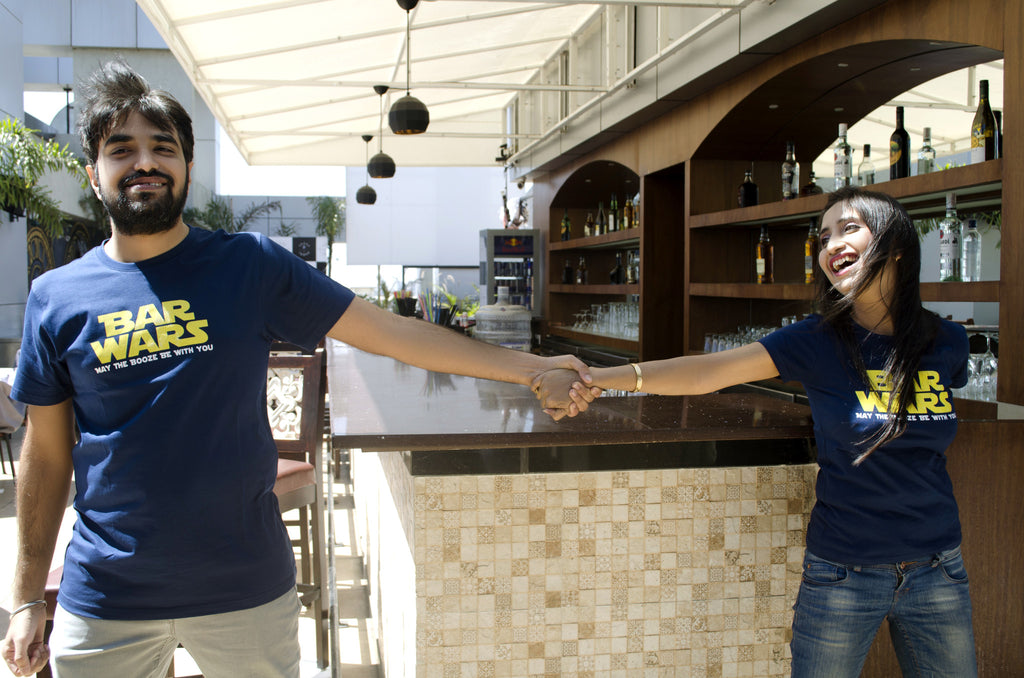Unisex Navy Blue Organic T-Shirt-Bar Wars
