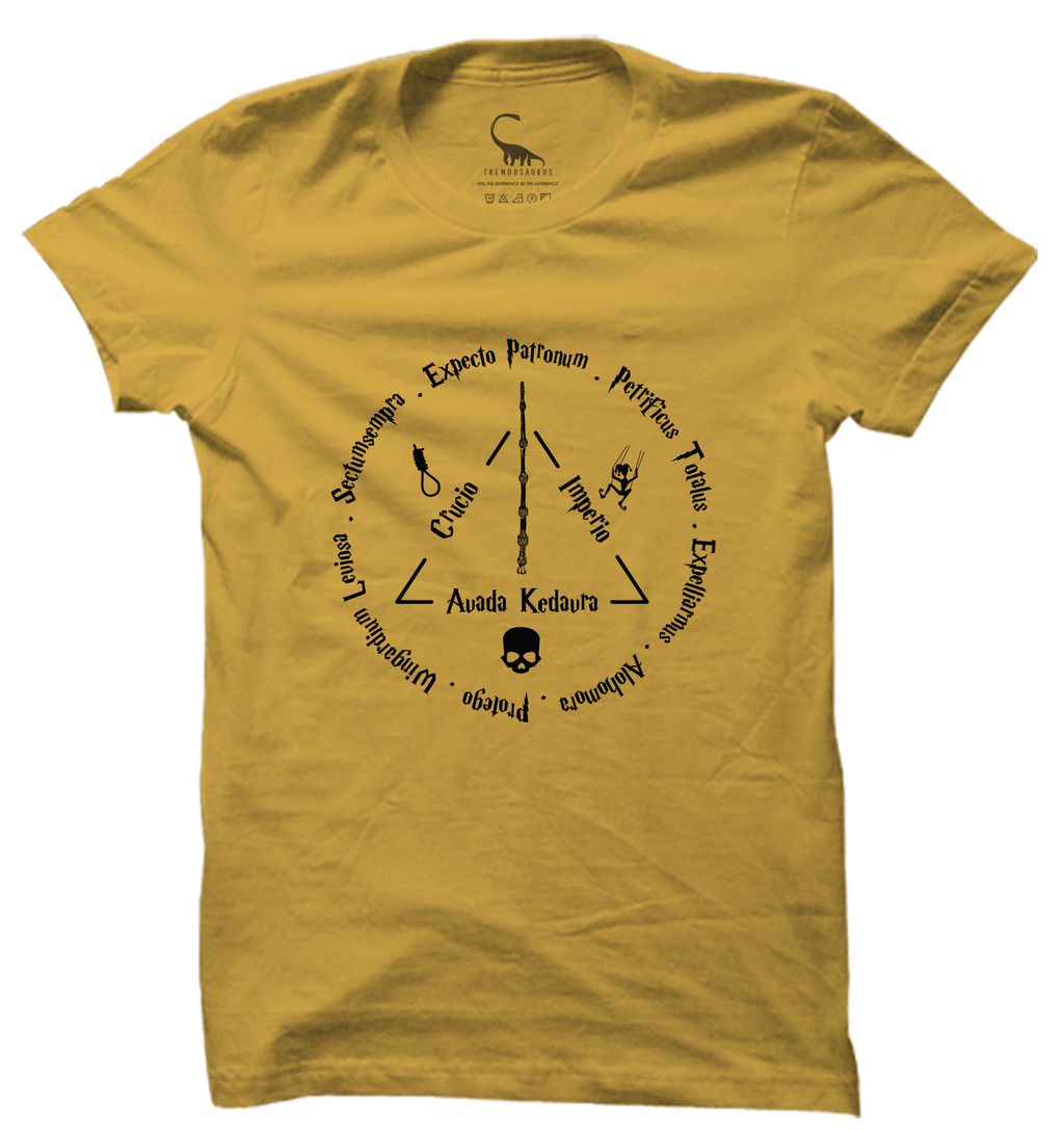 97d21fa08 Unisex Spicy Mustard Organic T-Shirt-Harry Potter Spell Collage ...