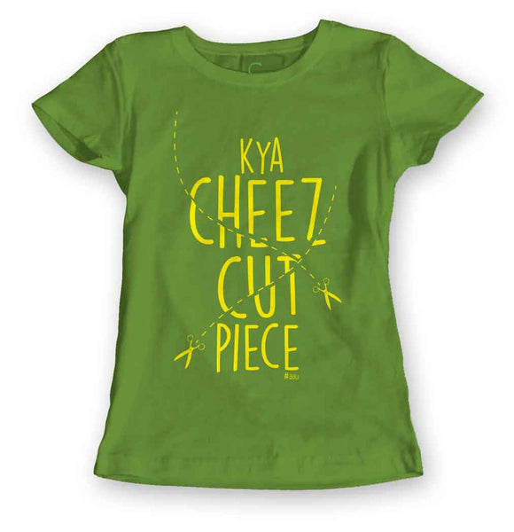 Women's Kelly Green Organic T-Shirt-Kya Cheez Cut Piece