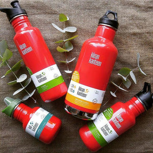 Range of Klean Kanteen Bottles Sizes in Red