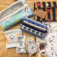 Paula W local hand-made upcycled cleaning products such as hankies, wipes, wash bags