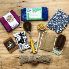 Natural cleaning products such as dish brushes and cleaning cloths