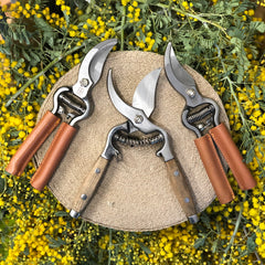Wooden and leather handle secateurs