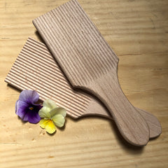 Ribbed wooden butter paddles