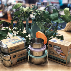 Stainless steel lunch boxes and circular containers with indoor plants behind